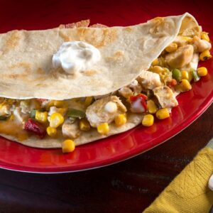 Chicken Sweet Corn quesadilla meals to go