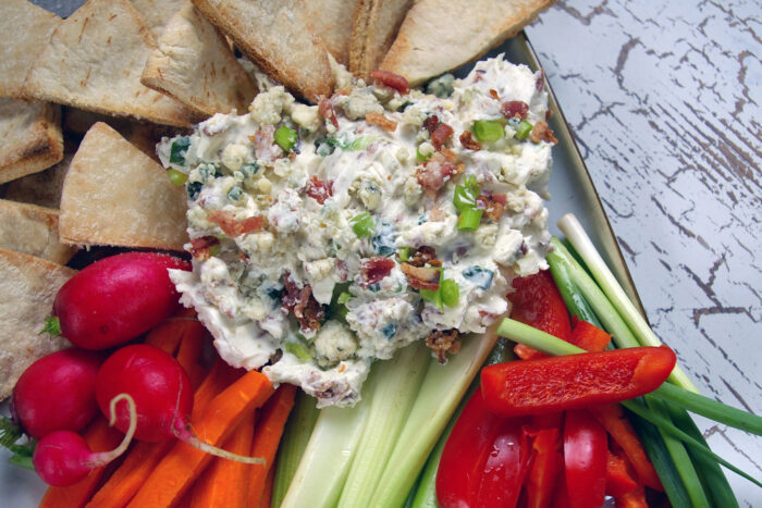blue cheese and bacon dip to go