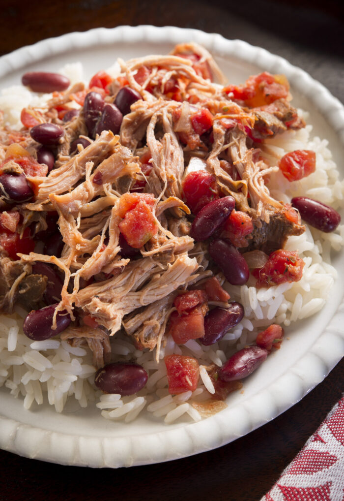 Social Suppers. Pulled Pork with Red Beans and Rice.
