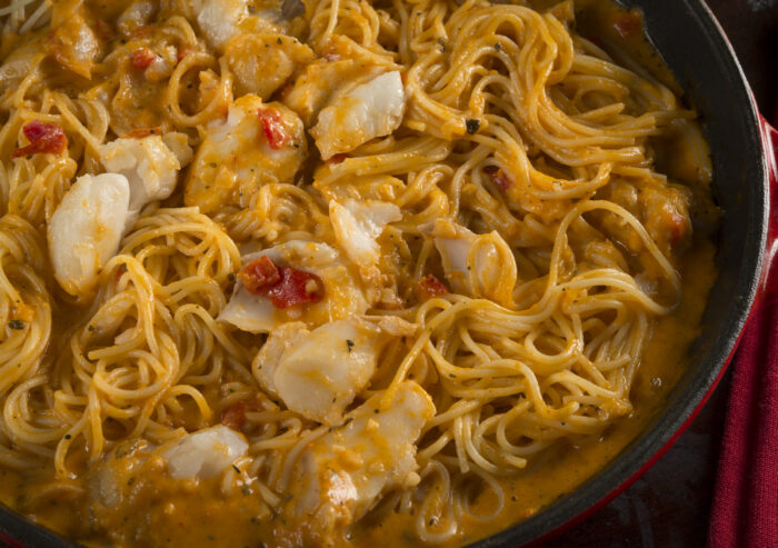 Social Suppers/Angel Hair Pasta with Roasted Red Pepper Cod Sauce.